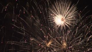 Sparkly Gold Fireworks Exploding
