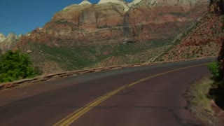 Sped-up Driving Shot Through Zions National Park