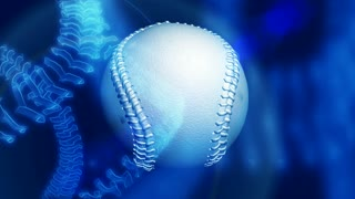 Spinning Baseball Ball & Blue Background
