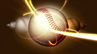 Spinning Baseball Ball & Gold Beam