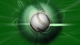 Spinning Baseball Ball & Green Background