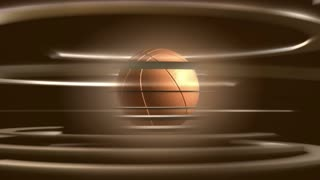 Spinning Basketball Ball & Bronze Circle