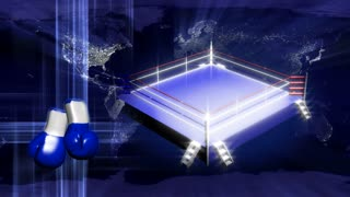 Spinning Boxing Ring, Gloves & Globe Background