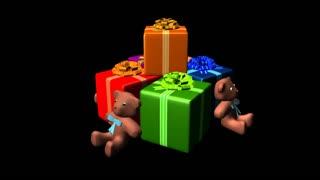 Spinning colorful boxes and teddy bear