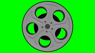 Spinning Film Reel Green Screen 2