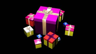 Spinning gift boxes with ribbon