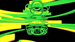 spinning green circle and yellow beam semicircle