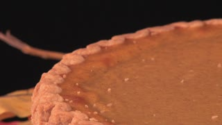 Spinning Pumpkin Pie With Leaves 4