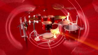 Spinning Red Drum Set & Beam