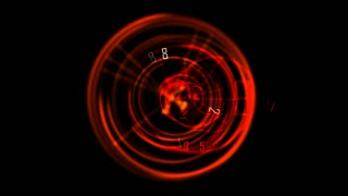 Spinning red glow and clock needle