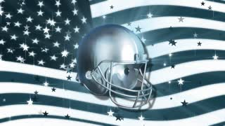 Spinning Silver Football Helmet & USA Flag