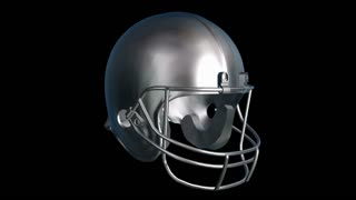 Spinning silver football helmet