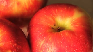 Spinning Wet Apple Close Up