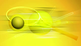 Spinning Yellow Tennis Racquet & Ball
