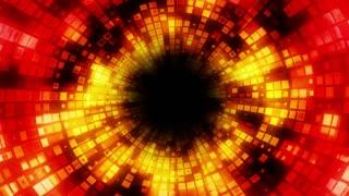 Spiraling Fiery Pixel Tunnel