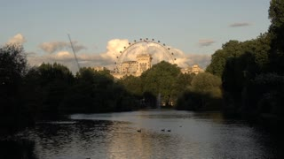 St. James Park Lake with London Eye in the Distance