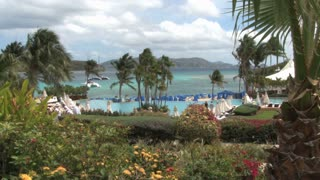St. Thomas Resort Tourists Walk by Pool
