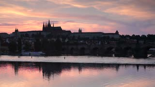 St. Vitus Cathedral, Charles Bridge and the Castle District illuminated at night, Prague, Czech Republic