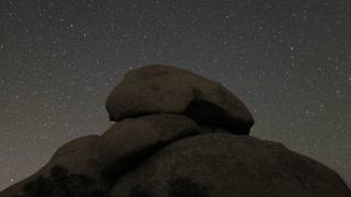 Starry Sky Timelapse Above Rockface