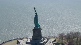 Statue of Liberty With Boats On Hudson