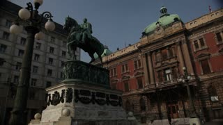 Statue Of Man On Horse In Romania