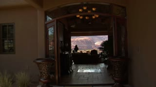 Steadicam Into Large Desert Home With Incredible View