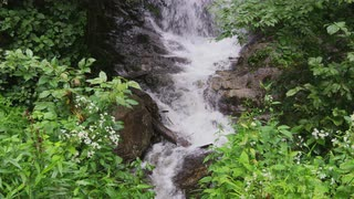 Steady Close Up Of Bottom Portion Mountain Waterfall, Blue Ridge Mountains