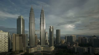 Steel and glass structures of the twin Petronas Towers, Kuala Lumpur City Centre KLCC, Malaysia, Kuala Lumpur, Asia, Time lapse