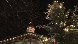 Steeple And Decorated Tree