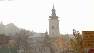 Steeple on Church in Small Romanian Town