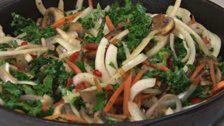Stirring and Cooking Veggies Close Up