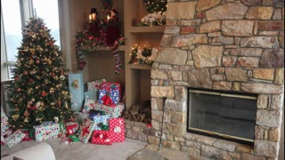 Stocking And Presents By Fireplace Timelapse