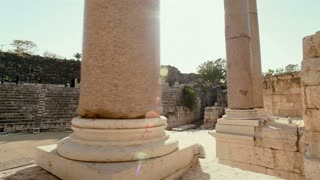 Stone Wall and Columns at Beit Shean Ruins in Israel 2