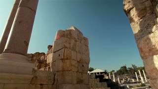 Stone Wall and Columns at Beit Shean Ruins in Israel