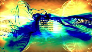Strands of Fire Colored Light Flow Under Blue and Green