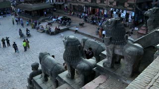 Street Traffic and Statues at Bhaktapur Square, Nepal