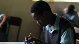 Student Studying in Classroom in Kenya