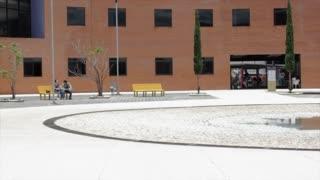 Students walking through snow to University of Mexico