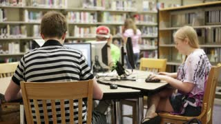 Students Work in Library