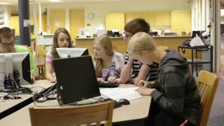 Students Working on Library Project