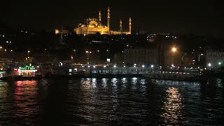 Suleymaniye Mosque Over Water at Night