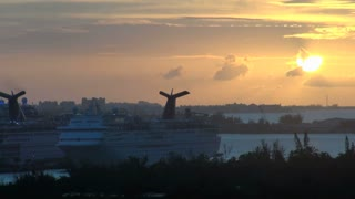 Sun Setting Behind Docked Cruise Ships 2