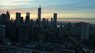 Sunrise Freedom Tower And Financial District NYC Aerial