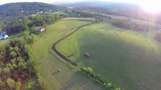 Sunset aerial farm flyover 10
