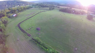 Sunset aerial farm flyover 3
