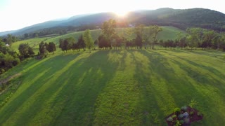 Sunset aerial farm flyover 8