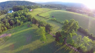 Sunset aerial farm flyover 9