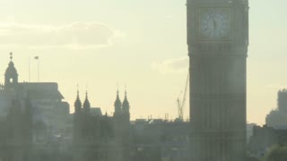 Sunset Behind Big Ben Pan Right Zoom Out