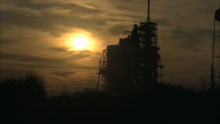 Sunset Behind Space Shuttle Launcher