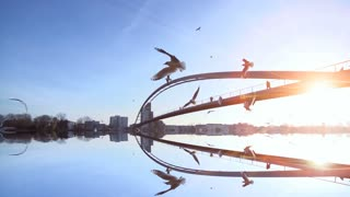 sunset bridge panorama. mirror water reflection.slow motion